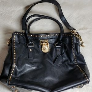 Leather Michael Kors Gold Stitch Shoulder Purse